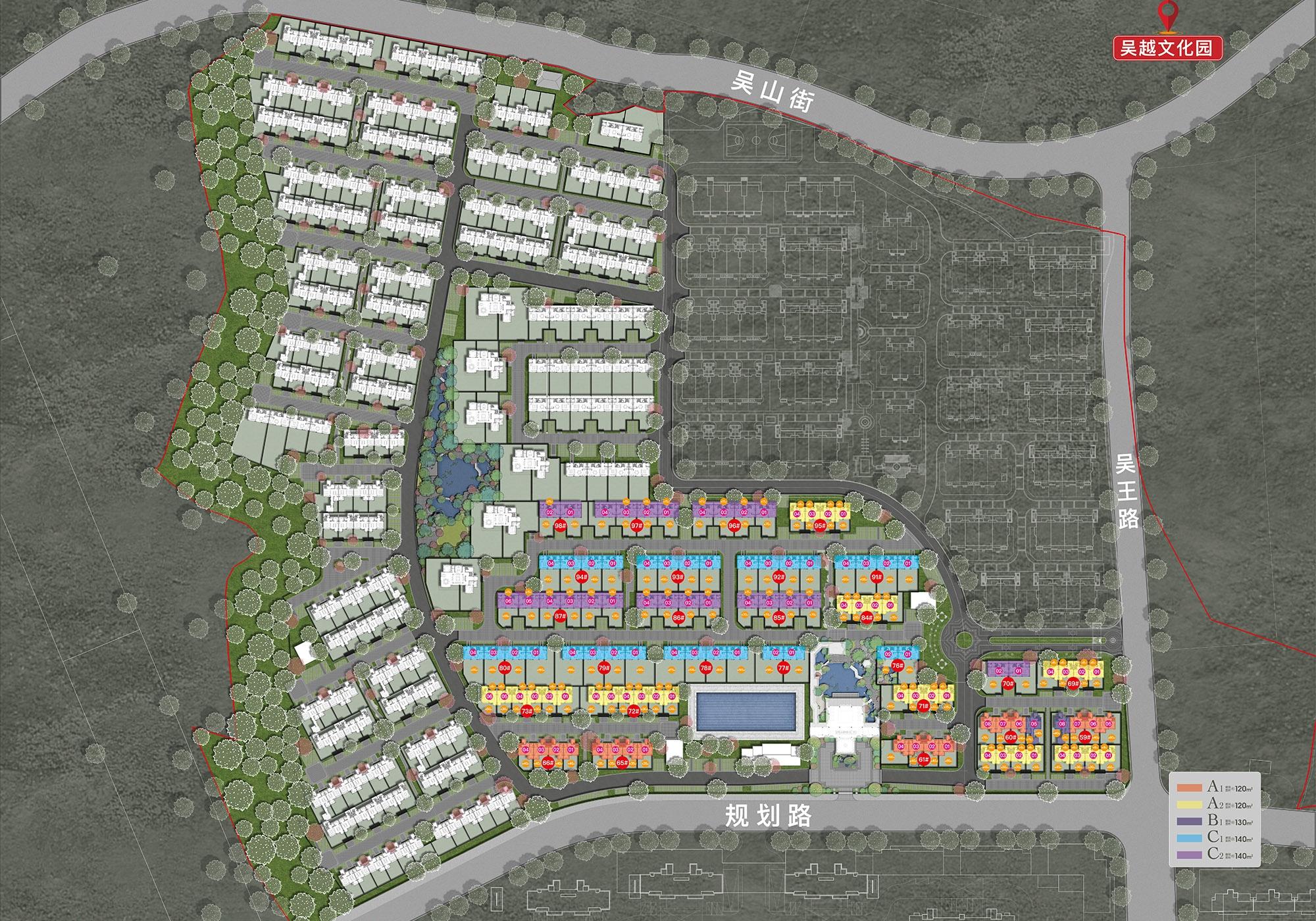 银城青山湖畔合院规划鸟瞰图